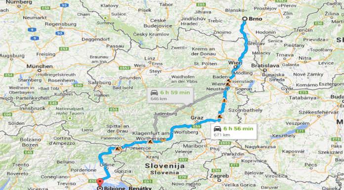 Mapa cesty autem z Brna do Bibione