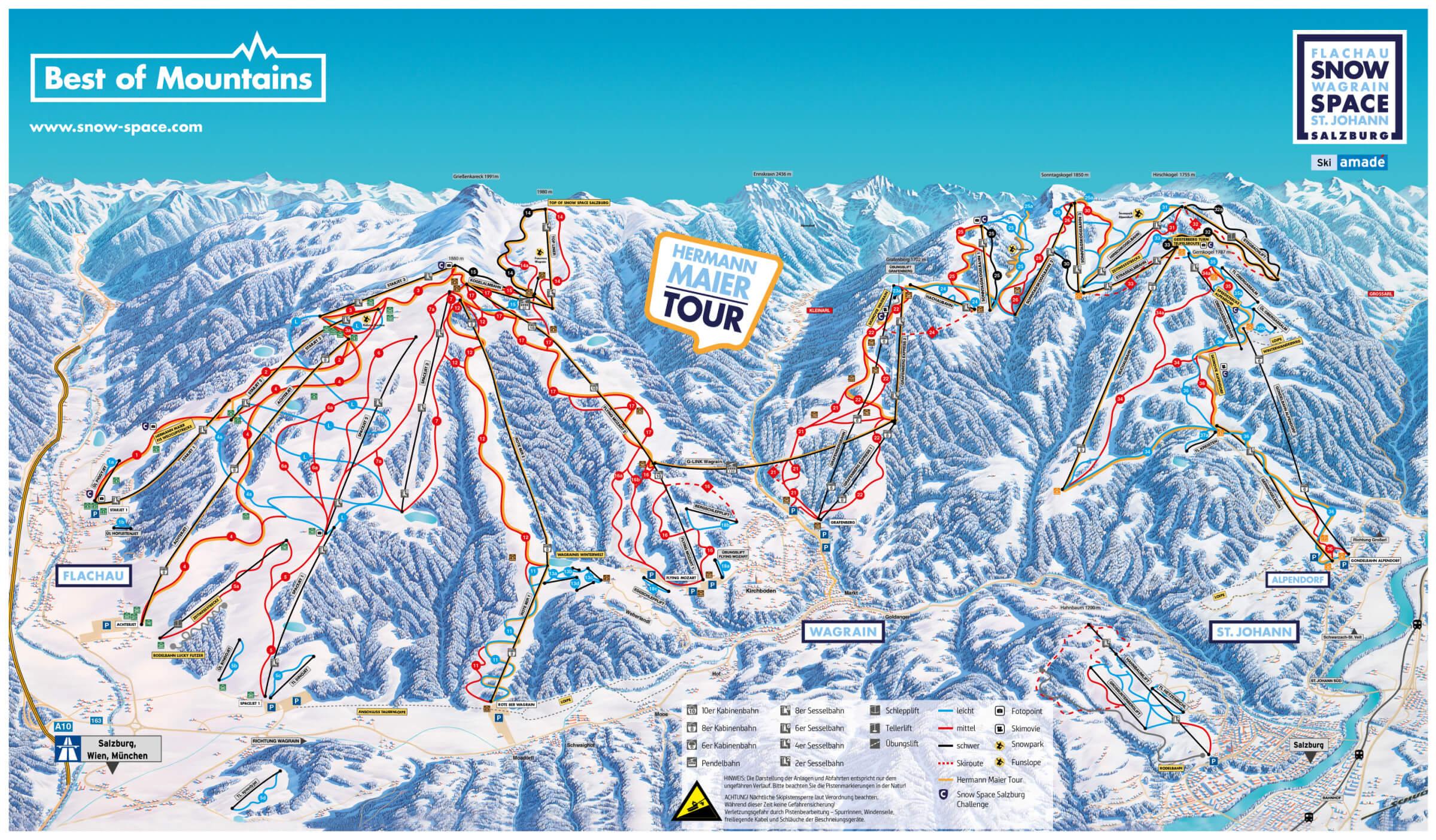 Snow space Salzburg - mapa skiareálu